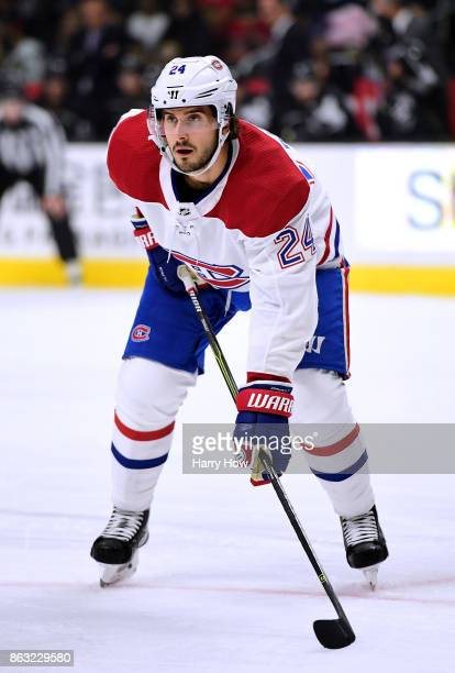 Phillip Danault of the Montreal Canadiens lines up for a faceoff during the game against the Los Angeles Kings at Staples Center on October 18 2017...