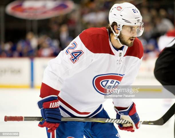 Phillip Danault of the Montreal Canadiens prepares for a face off during the second period against the New York Islanders at Barclays Center on March...