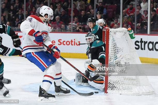 Phillip Danault of the Montreal Canadiens scores a goal on goaltender Chad Johnson of the Anaheim Ducks in the NHL game at the Bell Centre on...