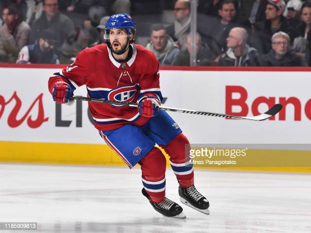 Phillip Danault of the Montreal Canadiens skates against the Boston Bruins during the first period at the Bell Centre on November 5, 2019 in...
