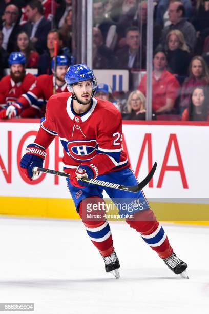 Phillip Danault of the Montreal Canadiens skates against the New York Rangers during the NHL game at the Bell Centre on October 28 2017 in Montreal...