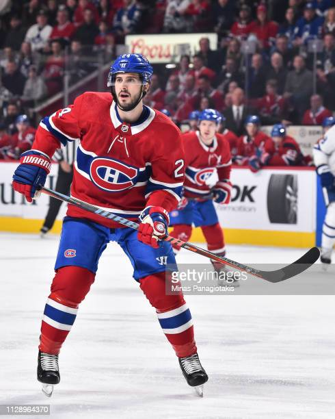 Phillip Danault of the Montreal Canadiens skates against the Toronto Maple Leafs during the NHL game at the Bell Centre on February 9, 2019 in...