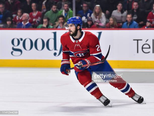 Phillip Danault of the Montreal Canadiens skates against the Toronto Maple Leafs during the NHL game at the Bell Centre on April 6, 2019 in Montreal,...