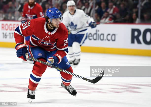 Phillip Danault of the Montreal Canadiens skates against the Toronto Maple Leafs in the NHL game at the Bell Centre on October 14 2017 in Montreal...