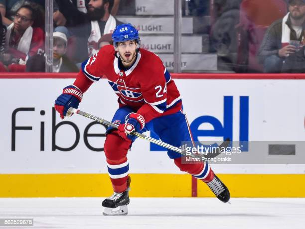 Phillip Danault of the Montreal Canadiens skates against the Toronto Maple Leafs during the NHL game at the Bell Centre on October 14 2017 in...