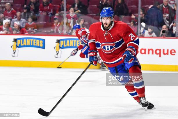 Phillip Danault of the Montreal Canadiens skates in the warmup prior to Game One of the Eastern Conference First Round during the 2017 NHL Stanley...