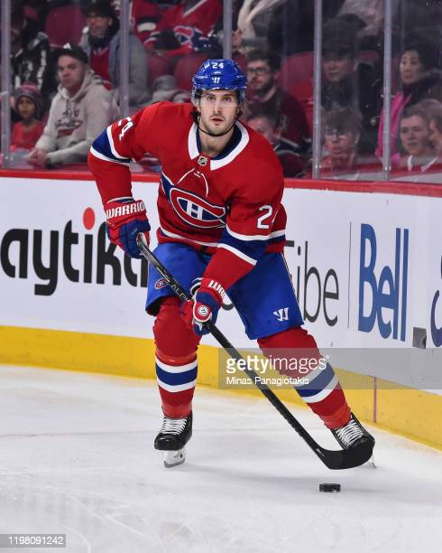 Phillip Danault of the Montreal Canadiens skates the puck against the Winnipeg Jets during the first period at the Bell Centre on January 6, 2020 in...