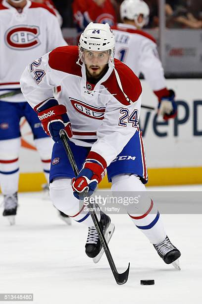Phillip Danault of the Montreal Canadiens skates with the puck during warm ups prior to a game against the Anaheim Ducks at Honda Center on March 2...