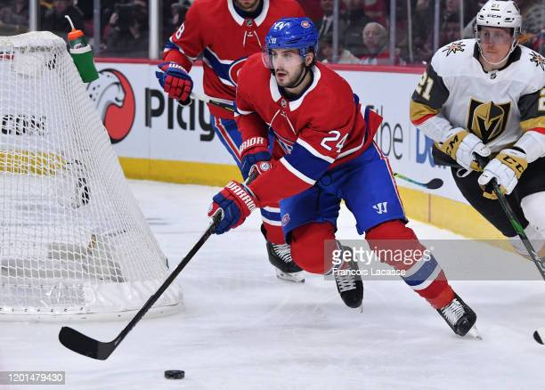 Phillip Danault of the Montreal Canadiens skates with the puck against the Vegas Golden Knights in the NHL game at the Bell Centre on January 18,...