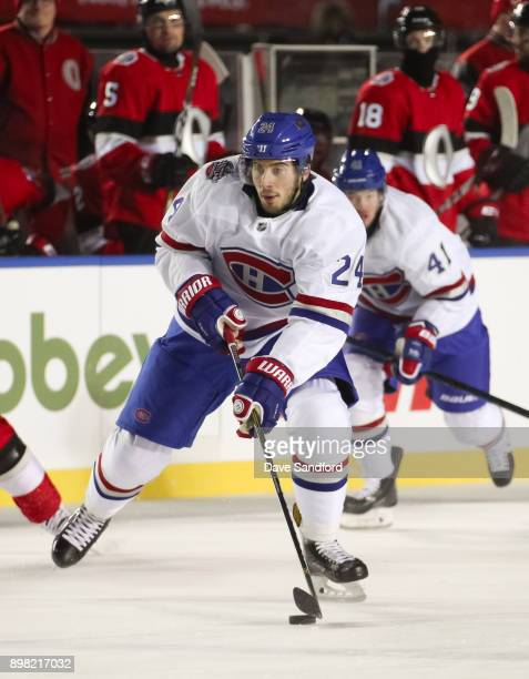 Phillip Danault of the Montreal Canadiens stickhandles the puck up ice in a game against the Ottawa Senators during the 2017 Scotiabank NHL100...