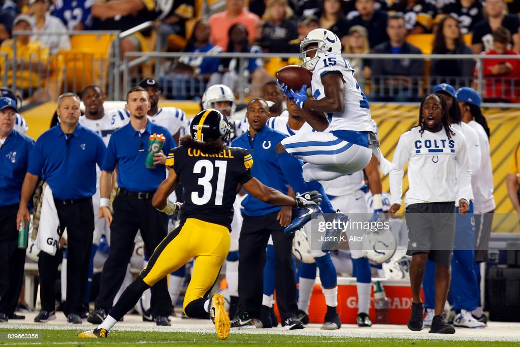 Phillip Dorsett #15 of the Indianapolis Colts pulls in a pass against Ross Cockrell #31 of the Pittsburgh Steelers during a preseason game on August 26, 2017 at Heinz Field in Pittsburgh, Pennsylvania.