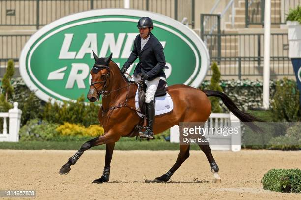 Phillip Dutton atop Z competes during the Stadium Jumping Phase of the Land Rover Kentucky Three-Day Event at Kentucky Horse Park on April 25, 2021...