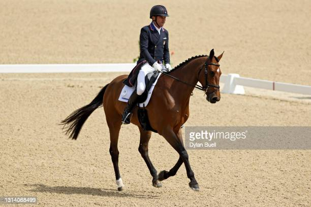 Phillip Dutton atop Z competes in the Dressage Phase during the Land Rover Kentucky Three-Day Event at Kentucky Horse Park on April 23, 2021 in...