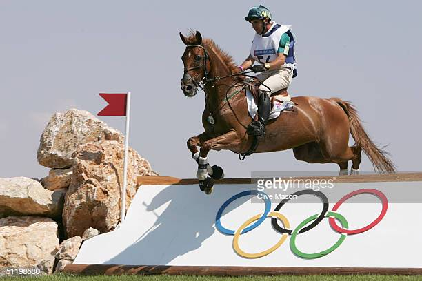 Phillip Dutton of Australia competes on Nova Top in the Team Cross Country competition on August 17, 2004 during the Athens 2004 Summer Olympic Games...