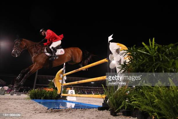 Phillip Dutton of Team United States riding Z competes during the Eventing Individual Jumping Final on day ten of the Tokyo 2020 Olympic Gamesat...