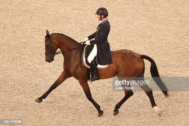 Phillip Dutton of Team USA riding Z competes in the Eventing Dressage Team and Individual Day 1 - Session 2 on day seven of the Tokyo 2020 Olympic...