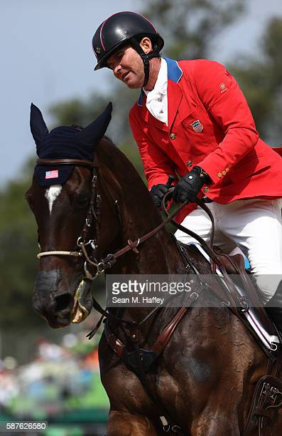 Phillip Dutton of the United States riding Mighty Nice during the eventing team jumping final and individual qualifier on Day 4 of the Rio 2016...