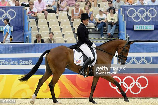 """Phillip Dutton of the US rides """"Connaught"""" in the eventing team dressage event in the 2008 Beijing Olympic Games equestrian competition in Hong Kong..."""