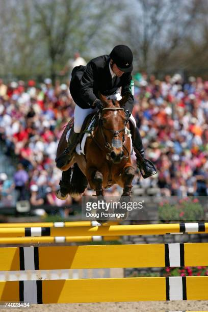 Phillip Dutton of West Grove, Pennsylvania atop Connaught competes in the Stadium Jumping Phase as he finished second at the 2007 Rolex Kentucky...
