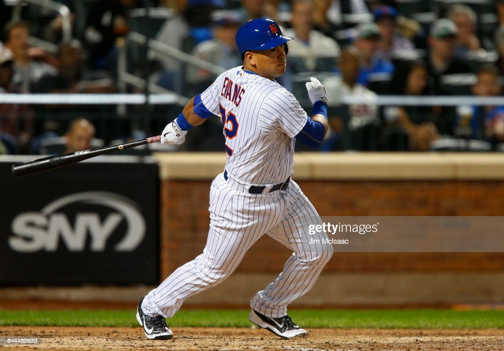 Phillip Evans #72 of the New York Mets hits into a sixth inning ending double play against the Cincinnati Reds at Citi Field on September 8, 2017 in the Flushing neighborhood of the Queens borough of New York City.