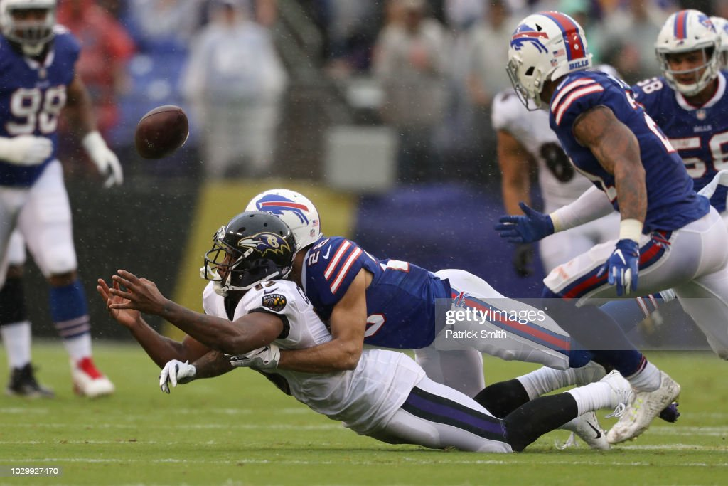 Phillip Gaines #28 of the Buffalo Bills breaks up a pass intended for Michael Crabtree #15 of the Baltimore Ravens in the first quarter at M&T Bank Stadium on September 9, 2018 in Baltimore, Maryland.