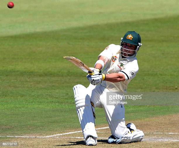 Phillip Hughes in action during day one of the Second Test between South Africa and Australia played at Kingsmead on March 6 2009 in Durban South...