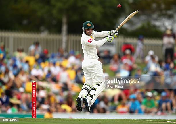 Phillip Hughes of Australia bats during day one of the First Test match between Australia and Sri Lanka at Blundstone Arena on December 14 2012 in...