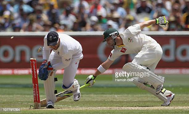 Phillip Hughes of Australia is run out by Matt Prior of England during day three of the Fourth Test match between Australia and England at the...