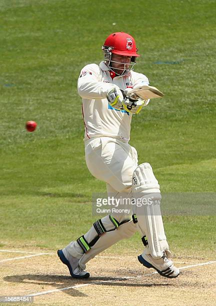 Phillip Hughes of the Redbacks bats during day two of the Sheffield Shield match between the Victorian Bushrangers and the South Australian Redbacks...