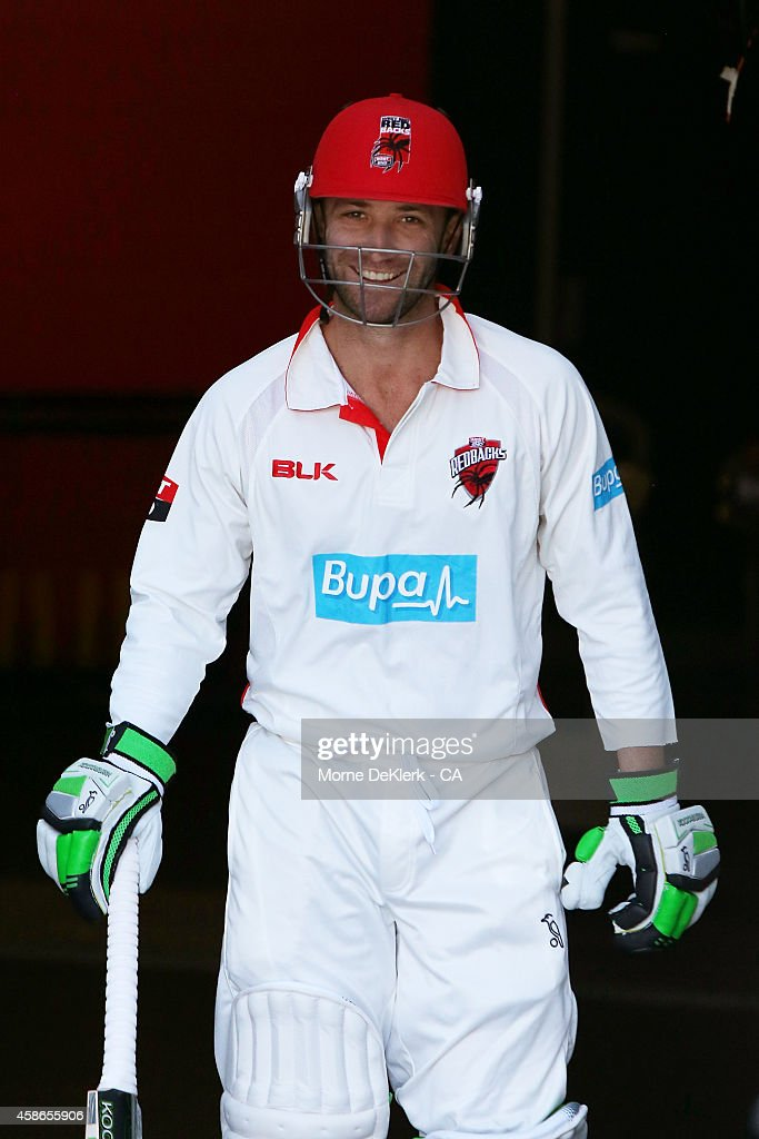 Phillip Hughes of the SA Redbacks comes out to bat during day 2 of the Sheffield Shield match between South Australia and New South Wales at Adelaide Oval on November 9, 2014 in Adelaide, Australia.