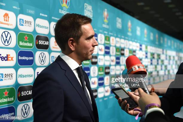 Phillip Lahm meets press members after the UEFA Euro 2020 Final Draw Ceremony on November 30 2019 in Bucharest Romania