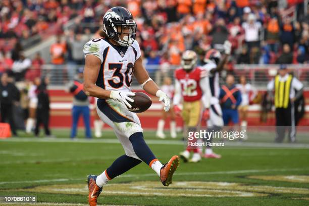 Phillip Lindsay of the Denver Broncos celebrates after rushing for a touchdown against the San Francisco 49ers during their NFL game at Levi's...