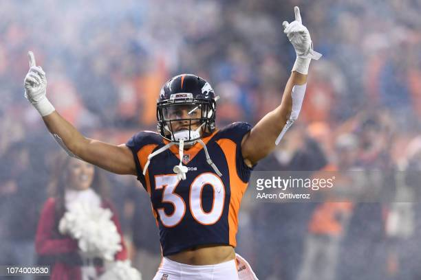 Phillip Lindsay of the Denver Broncos is introduced to the game against the Cleveland Browns. The Denver Broncos hosted the Cleveland Browns at...