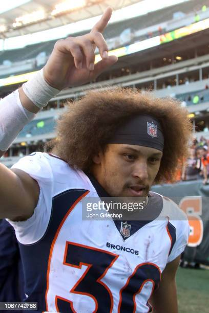 Phillip Lindsay of the Denver Broncos runs off of the field after the end of the game against the Cincinnati Bengals at Paul Brown Stadium on...