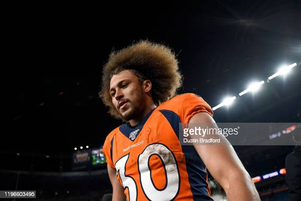Phillip Lindsay of the Denver Broncos walks off the field after a 16-15 win over the Oakland Raiders at Empower Field at Mile High on December 29,...