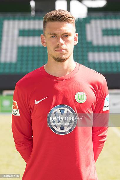 Phillip Menzel poses during the official team presentation of VfL Wolfsburg at Volkswagen Arena on September 14 2016 in Wolfsburg Germany