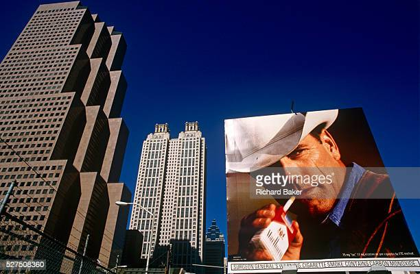A Phillip Morris ad using the famous Marlboro Man cowboy character on a downtown Atlanta billboard The Marlboro Man is a figure used in tobacco...