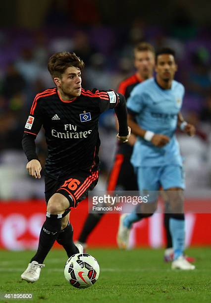 Phillip Muller of Hamburg in action during the friendly match between Hamburg SV and Manchester City at Hazza bin Zayed Stadium on January 21 2015 in...
