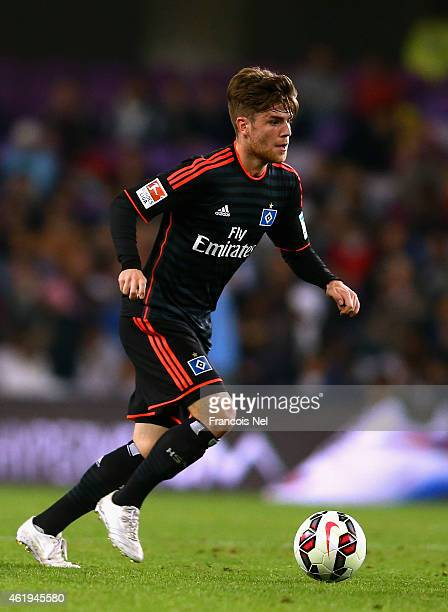 Phillip Muller of Hamburg in action in action during the friendly match between Hamburg SV and Manchester City at Hazza bin Zayed Stadium on January...