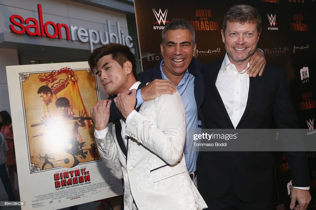 Phillip Ng, Micheal London and George Nolfi attend the Premiere Of WWE Studios' 'Birth Of The Dragon' at ArcLight Hollywood on August 17, 2017 in Hollywood, California.