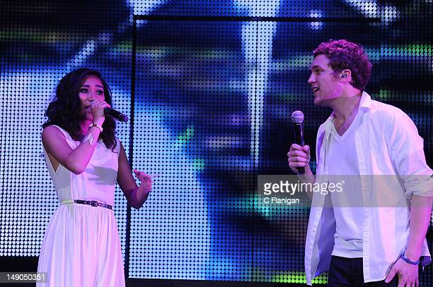 Phillip Phillips and Jessica Sanchez perform as part of the American Idols Live Tour presented by Chips Ahoy and Ritz at Power Balance Pavilion on...