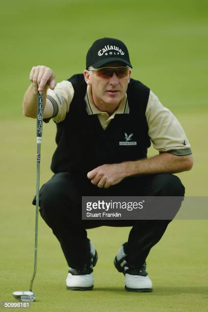 Phillip Price of Wales lines up a putt during the second round of the Deutsche Bank SAP Open on May 21 2004 at St LeonRot Golf Club in Heidelberg...