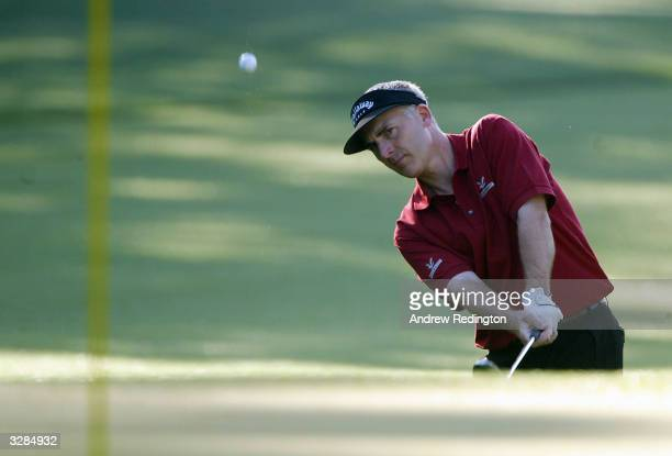 Phillip Price of Wales plays his third shot on the first hole during the second round of the Masters at the Augusta National Golf Club on April 9...