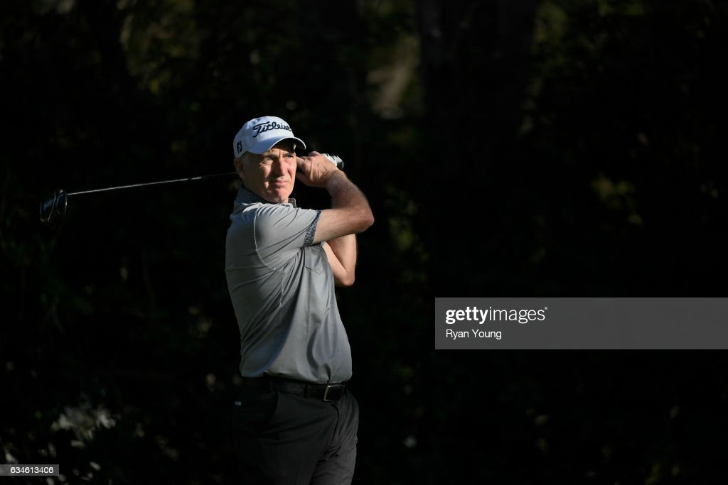 Phillip Price tees off on the 18th hole during the first round of the PGA TOUR Champions Allianz Championship at The Old Course at Broken Sound on February 10, 2017 in Boca Raton, Florida.