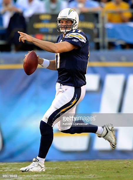 Phillip Rivers quarterback of the San Diego Chargers directs his teammates against the Philadelphia Eagles during the NFL football game at Qualcomm...