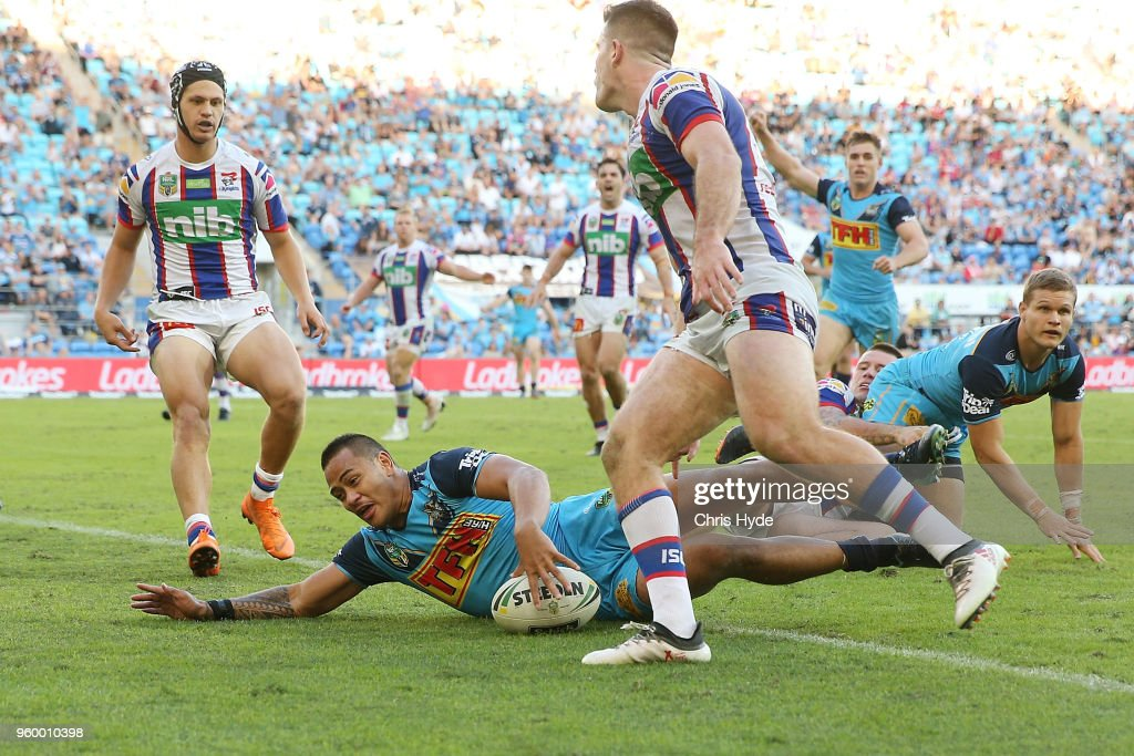 Phillip Sami of the Titans scores a try during the round 11 NRL match between the Gold Coast Titans and the Newcastle Knights at Cbus Super Stadium on May 19, 2018 in Gold Coast, Australia.