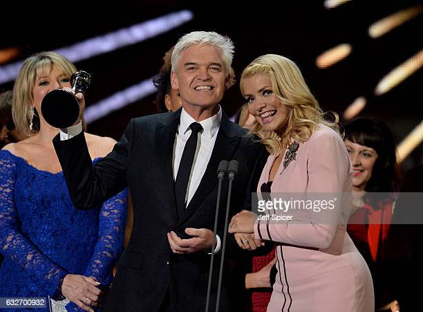 Phillip Schofield and Holly Willoughby accept the Best Live Magazine Show award for This Morning on stage during the National Television Awards at...