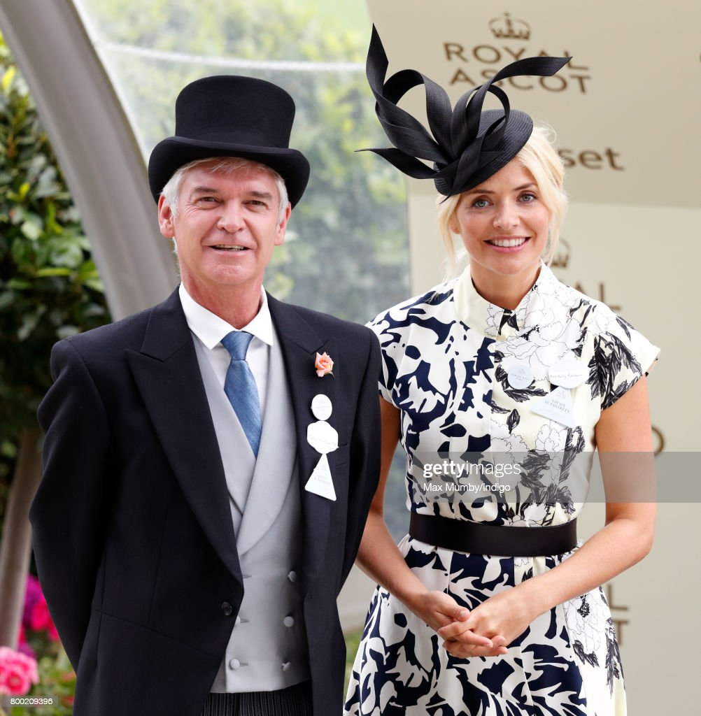 Phillip Schofield and Holly Willoughby attend day 4 of Royal Ascot at Ascot Racecourse on June 23, 2017 in Ascot, England.
