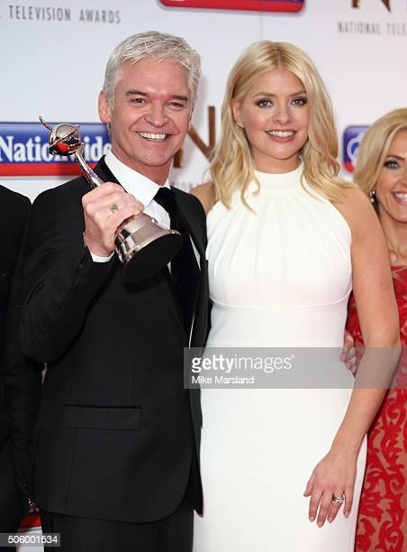 Phillip Schofield and Holly Willoughby attend the 21st National Television Awards Winners Room at The O2 Arena on January 20 2016 in London England