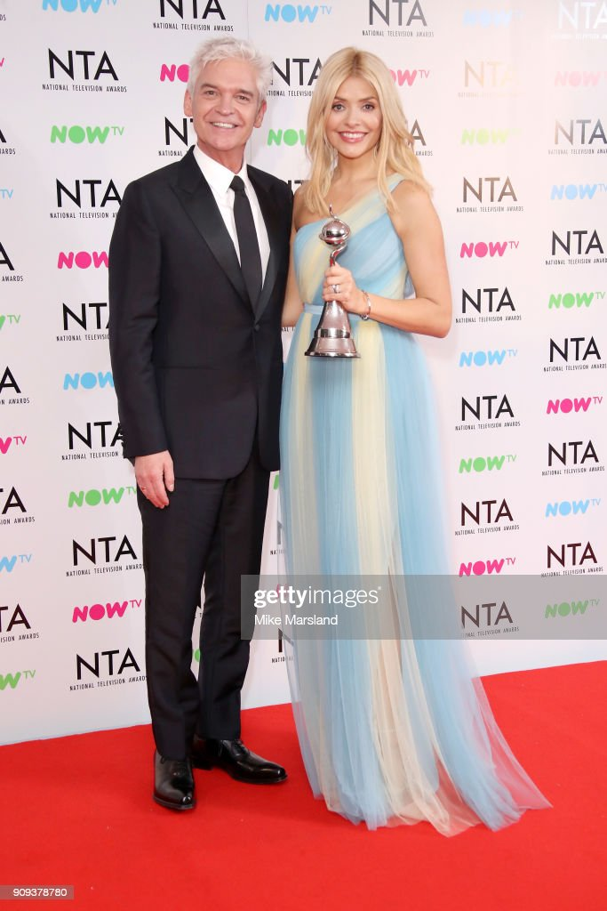 Phillip Schofield (L) and Holly Willoughby from This Morning pose in the press room with the award for Daytime programme at the National Television Awards 2018 at The O2 Arena on January 23, 2018 in London, England.